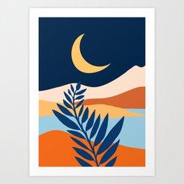 Moon + Night Bloomer / Mountain Landscape Art Print