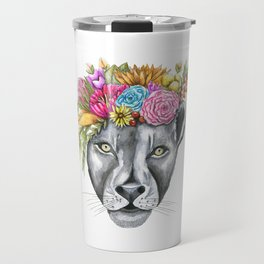 Lioness with Flower Crown Travel Mug