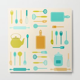 AFE Kitchen Utensils Pattern II Metal Print