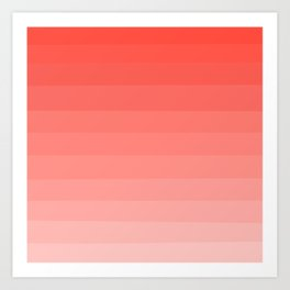 Living Coral Sunset Ombre Stripes Art Print
