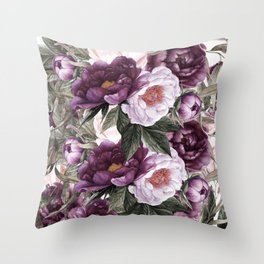Purple Plum Pink Watercolor Peonies and Greenery Throw Pillow