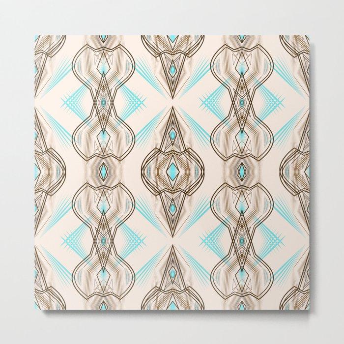 Art Deco . Turquoise brown white . Metal Print