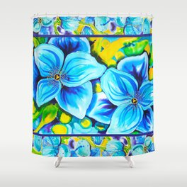 Blue Poppies 3 with Border Shower Curtain
