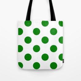 Large Polka Dots - Green on White Tote Bag