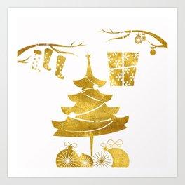 Gold Christmas 03 Art Print