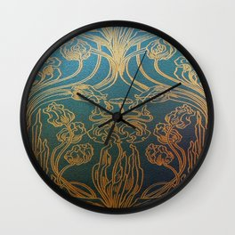 Art Nouveau,teal and gold Wall Clock