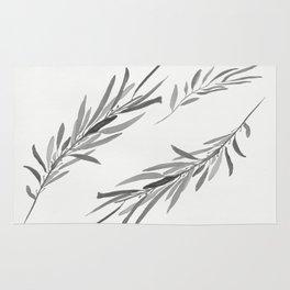 Eucalyptus leaves black and white Rug