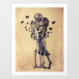 Always Kiss Goodnight Skeletons Art Print
