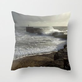 Hastings harbour arm on a stormy day Throw Pillow