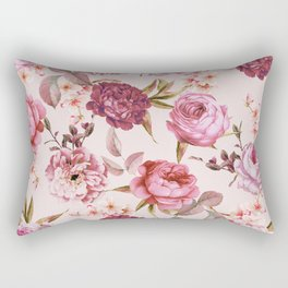 Blush Pink and Red Watercolor Floral Roses Rectangular Pillow