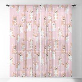 corgi pink Sheer Curtain