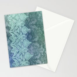 ABERDEEN HEIRLOOM, LACE & DAMASK: TRENDY TEAL Stationery Cards