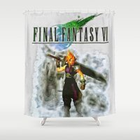 final fantasy Shower Curtains featuring Cloud Strife Final Fantasy 7 by Joe Misrasi