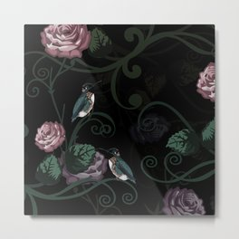 Hummingbird Vines Dark Floral Metal Print