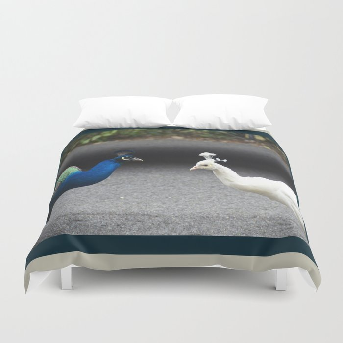 Mirror Image in Blue and White Duvet Cover