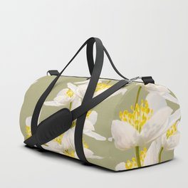White Flowers On A Light Green Background #decor #buyart #society6 Duffle Bag