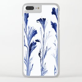 Painted Flowers In Blue Clear iPhone Case