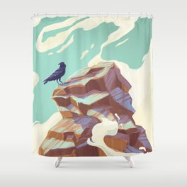 Alpine Crow Shower Curtain