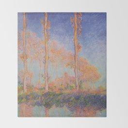 Poplars, Philadelphia by Claude Monet Throw Blanket