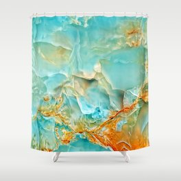Onyx - blue and orange Shower Curtain