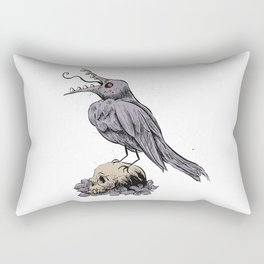 Black Bird on Skull Rectangular Pillow