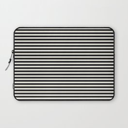 Black Linen Seashell Fine Stripe Laptop Sleeve