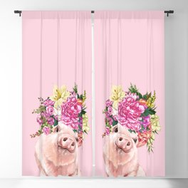 Flower Crown BB Pig in Pink Blackout Curtain
