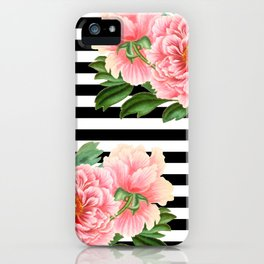 Pink Peonies Black Stripes iPhone Case