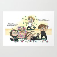 cyrilliart Art Prints featuring Flower Fight by Cyrilliart