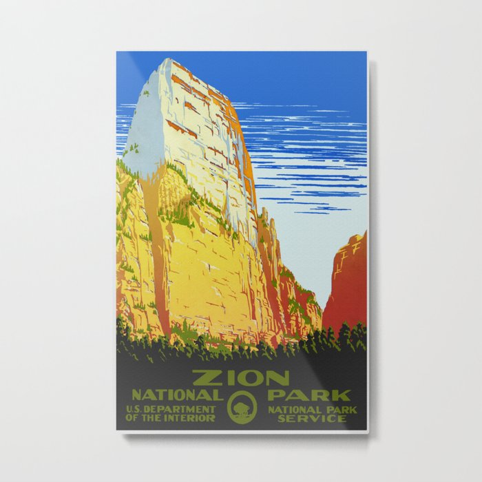 Zion National Park - Vintage Travel Metal Print