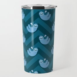Blue sloths and chevrons Travel Mug