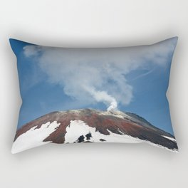 Top of volcanic cone, fumaroles activity of volcano, steam and gas emissions from crater Rectangular Pillow