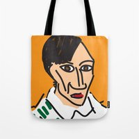 pablo picasso Tote Bags featuring Picasso by John Sailor