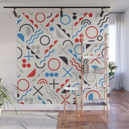 Seamless Jumble Shapes in Blue Red White Color Geometric Retro Pattern  Wall Mural