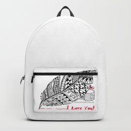I Love You feather pen Backpack