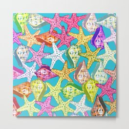 Seashells and sea stars Metal Print