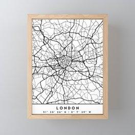LONDON ENGLAND BLACK CITY STREET MAP ART Framed Mini Art Print
