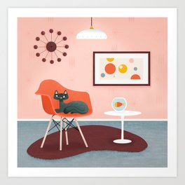 Midcentury Coral Decor With Black Cat And Gold Fish Art Print