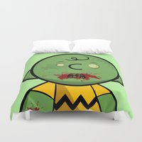 charlie brown Duvet Covers featuring Zombie Charlie Brown by rkbr