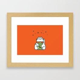 Maneki-Neko Lucky Cat Framed Art Print