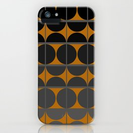 Black and Gray Gradient with Gold Squares and Half Circles Digital Illustration - Artwork iPhone Case