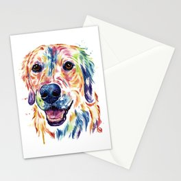Golden Retriever Watercolor Pet Portrait Painting by Whitehouse Art Stationery Cards