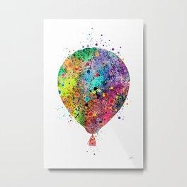 Hot Air Balloon Art Gift Colorful Watercolor Art Vintage Hot Air Balloon Decor Metal Print