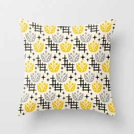 Mid Century Modern Space Flower Pattern Gray and Yellow Throw Pillow