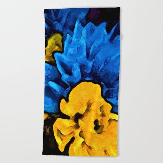 Yellow Flower and Blue Flowers Beach Towel