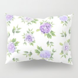 Hand painted lavender violet green watercolor floral Pillow Sham