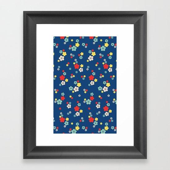 blossom ditsy in monaco blue Framed Art Print
