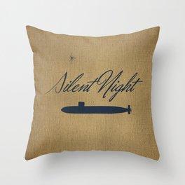 Silent Night - burlap Throw Pillow