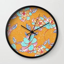 Crayon Bright Happy Floral on Summer Orange Wall Clock