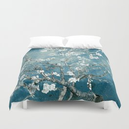 Vincent Van Gogh Almond Blossoms Teal Duvet Cover